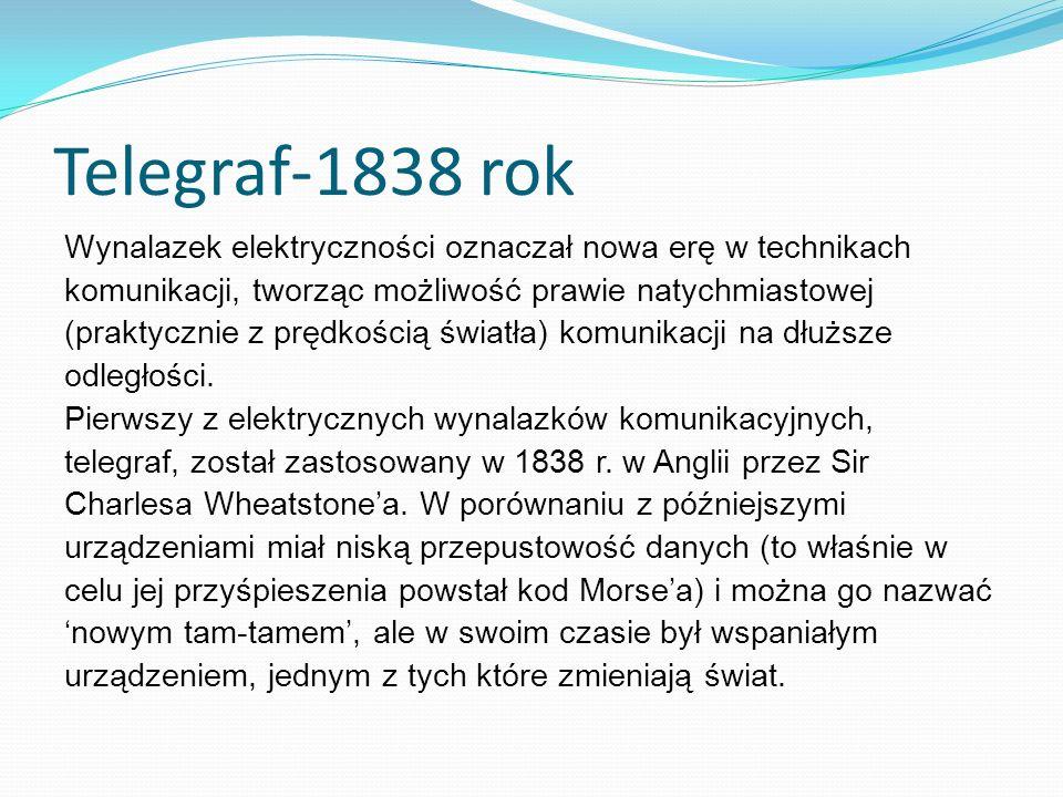 Telegraf-1838 rok Wynalazek elektryczności oznaczał nowa erę w technikach. komunikacji, tworząc możliwość prawie natychmiastowej.