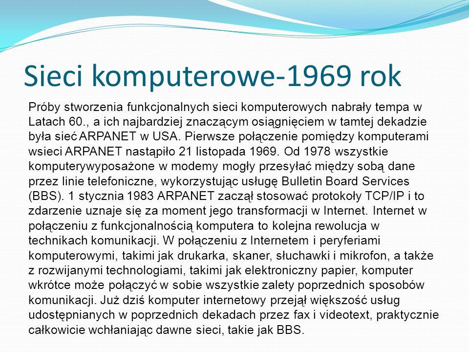 Sieci komputerowe-1969 rok
