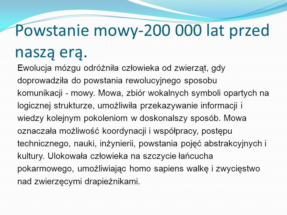 Powstanie mowy-200 000 lat przed naszą erą.