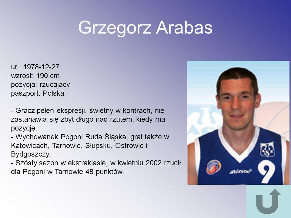 Grzegorz Arabas ur.: 1978-12-27 wzrost: 190 cm pozycja: rzucający
