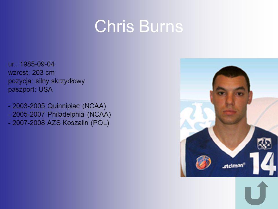 Chris Burns ur.: 1985-09-04 wzrost: 203 cm pozycja: silny skrzydłowy