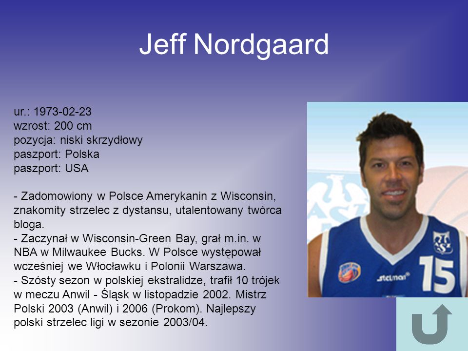 Jeff Nordgaard ur.: 1973-02-23 wzrost: 200 cm