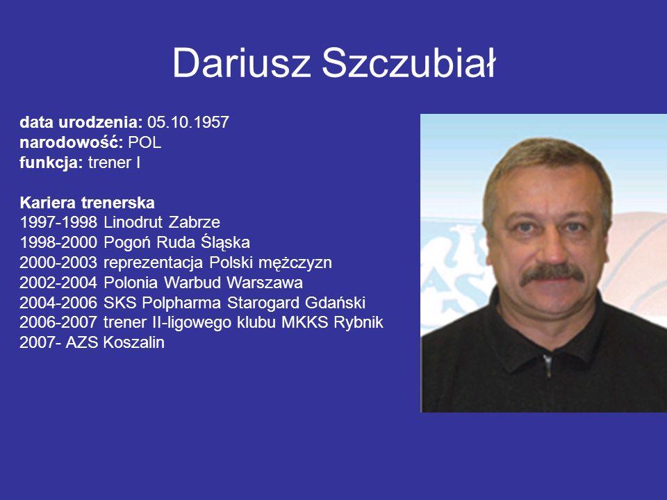 Dariusz Szczubiał data urodzenia: 05.10.1957 narodowość: POL