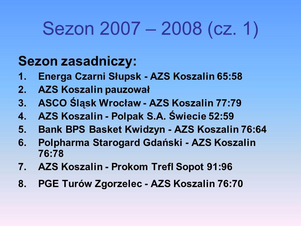 Sezon 2007 – 2008 (cz. 1) Sezon zasadniczy: