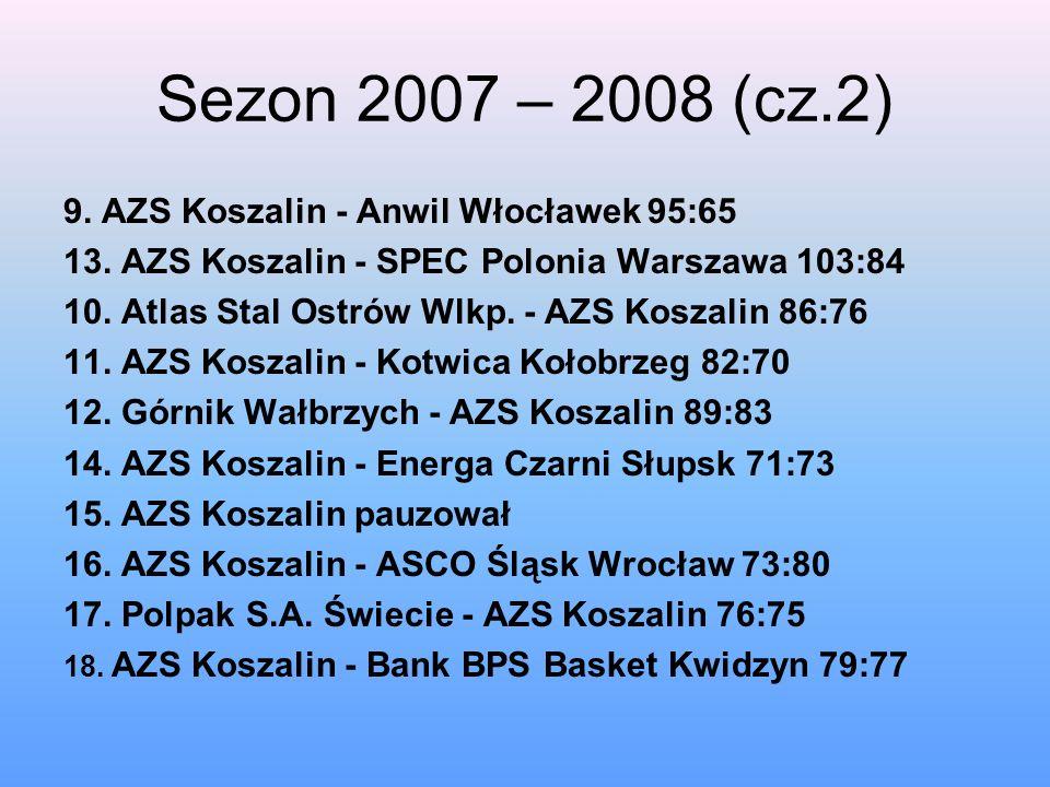 Sezon 2007 – 2008 (cz.2) 9. AZS Koszalin - Anwil Włocławek 95:65