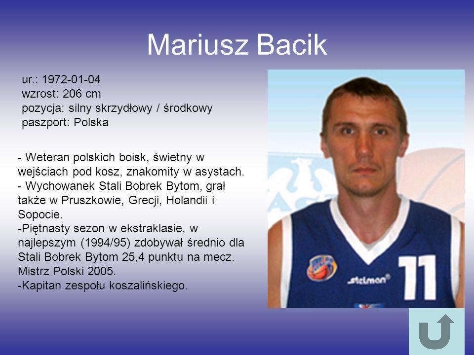 Mariusz Bacik ur.: 1972-01-04 wzrost: 206 cm