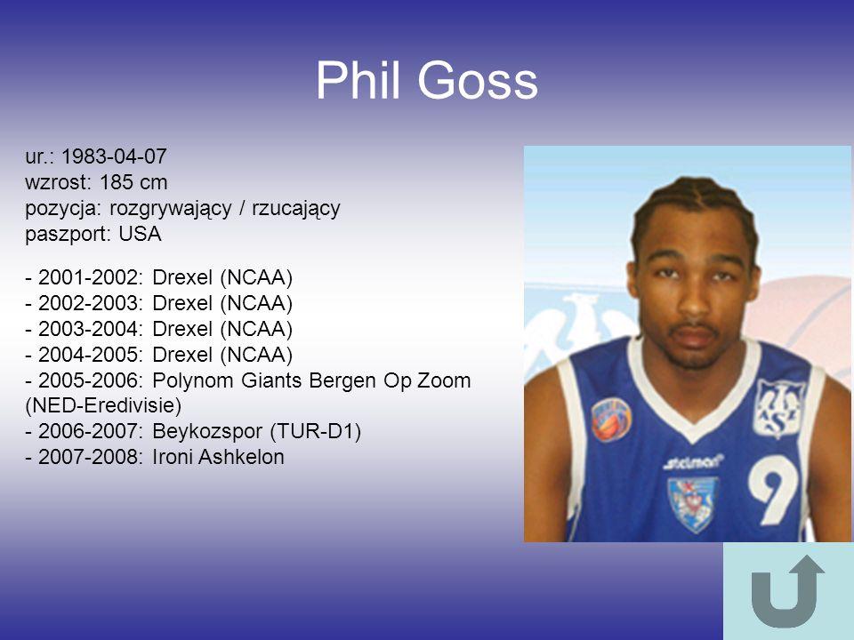 Phil Goss ur.: 1983-04-07 wzrost: 185 cm