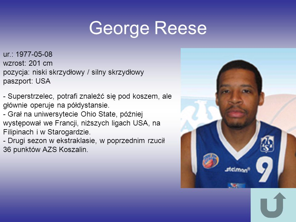 George Reese ur.: 1977-05-08 wzrost: 201 cm