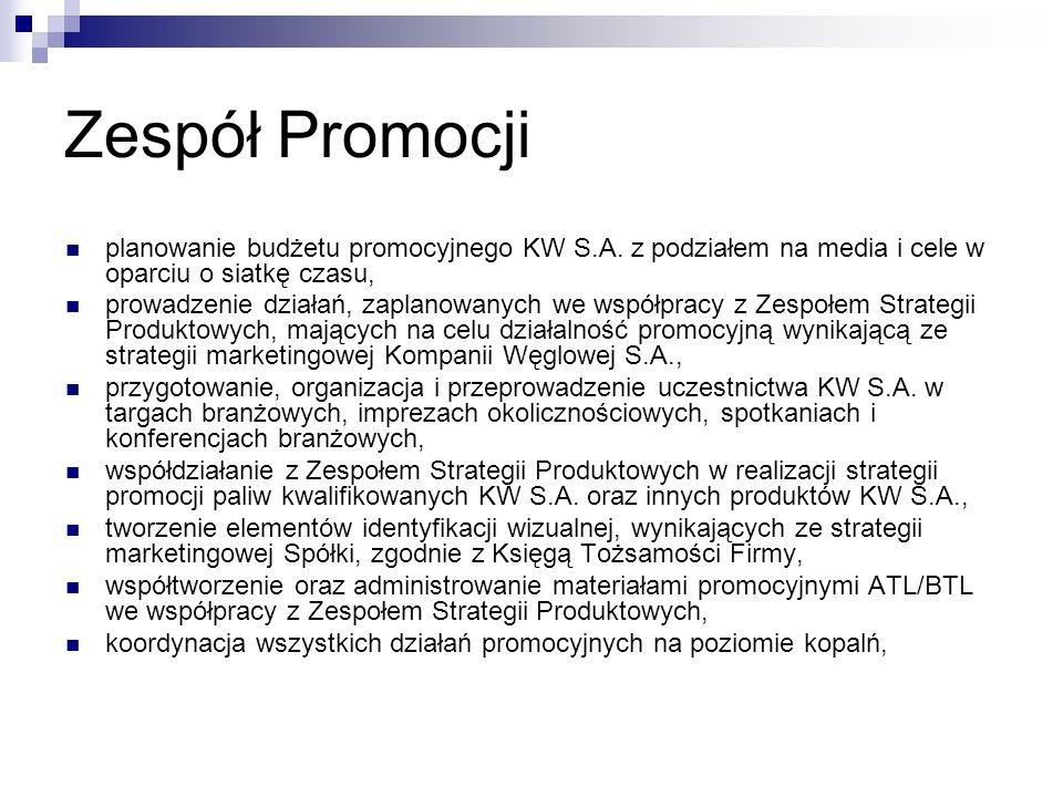 Zespół Promocji planowanie budżetu promocyjnego KW S.A. z podziałem na media i cele w oparciu o siatkę czasu,