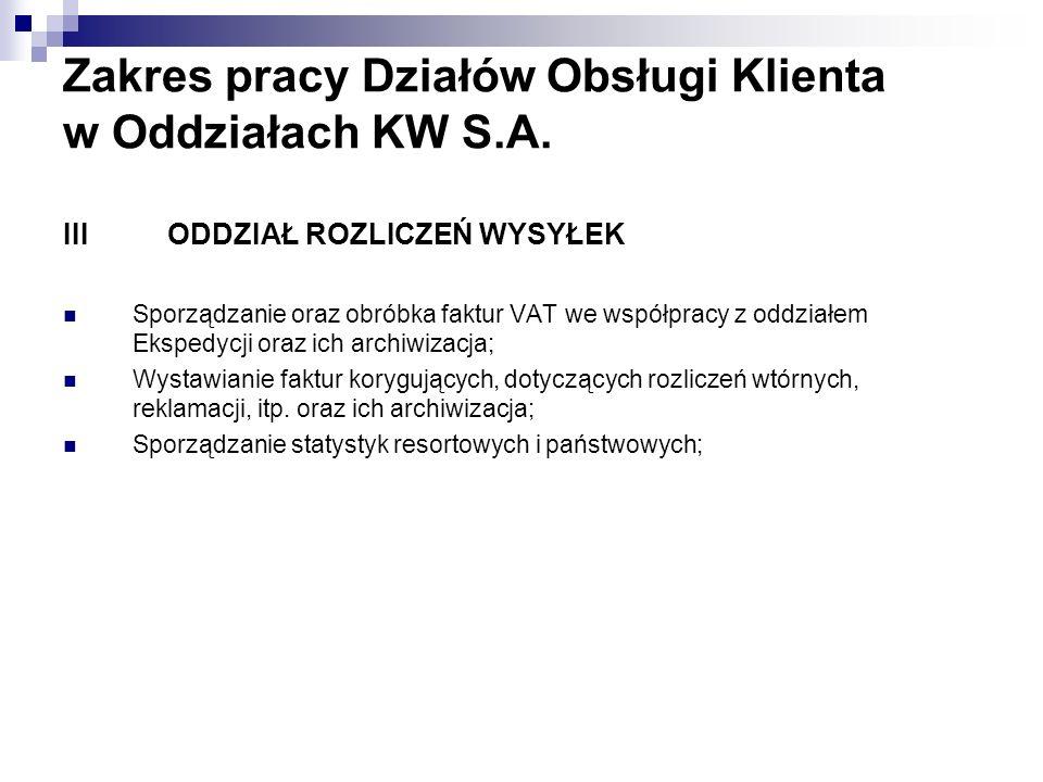 Zakres pracy Działów Obsługi Klienta w Oddziałach KW S.A.