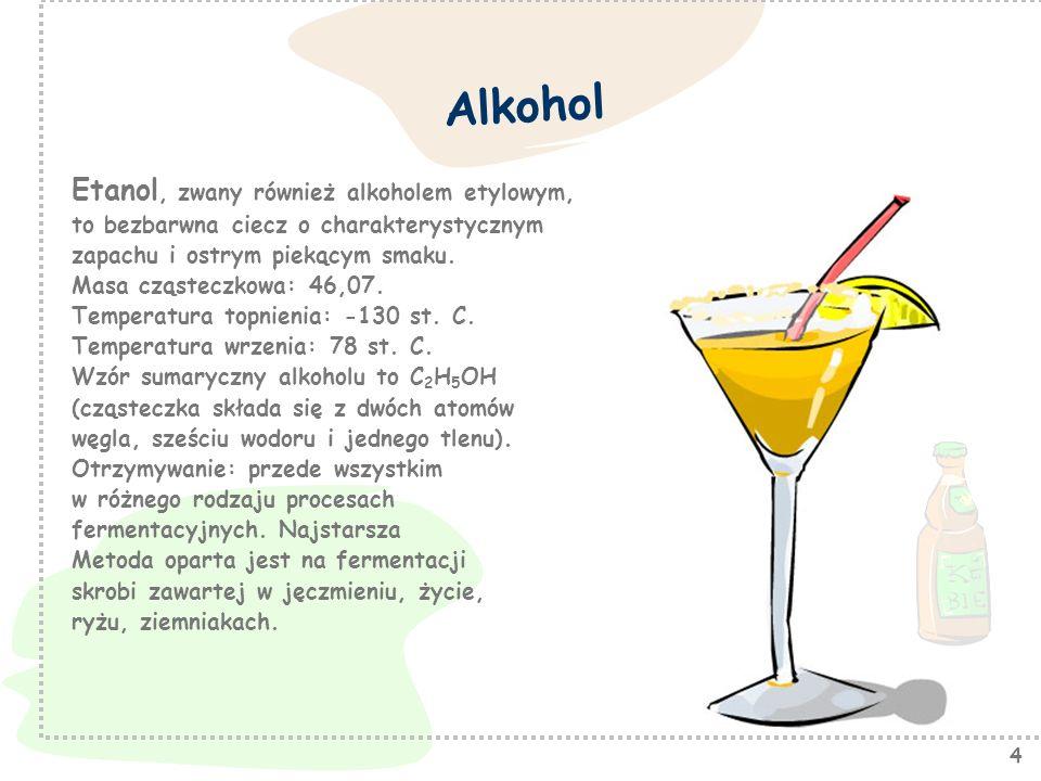 Alkohol Etanol, zwany również alkoholem etylowym,