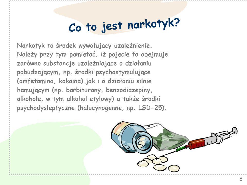 Co to jest narkotyk Narkotyk to środek wywołujący uzależnienie.