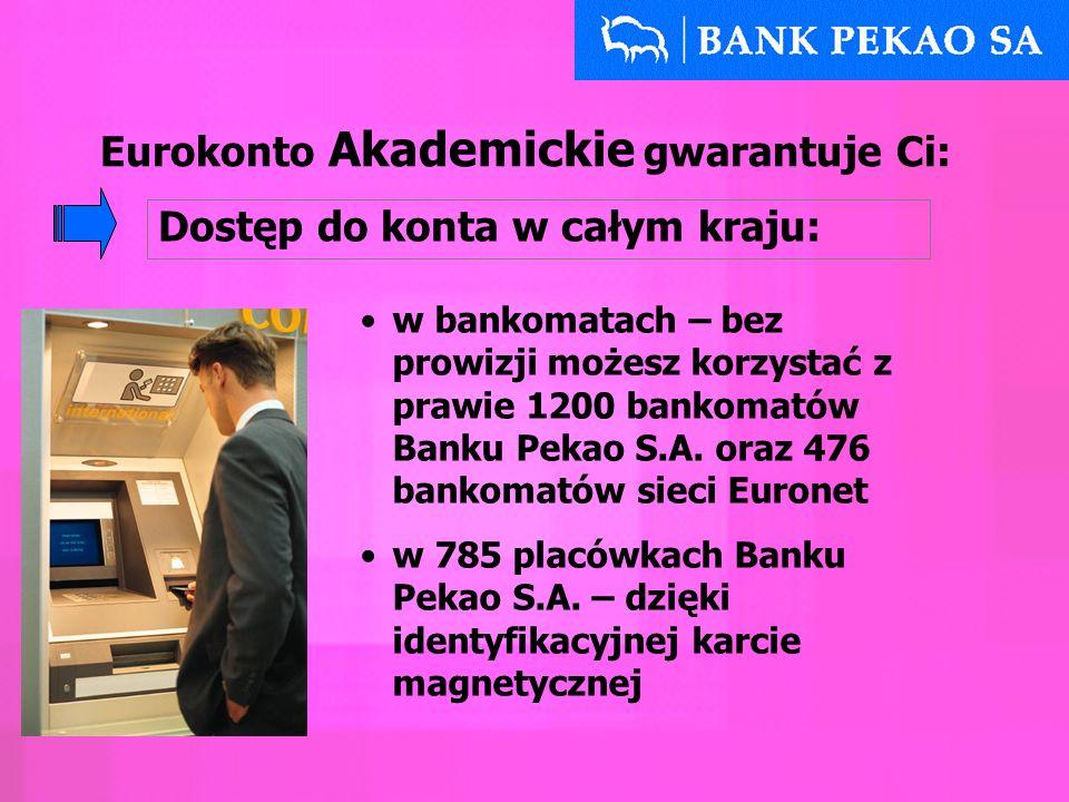 Eurokonto Akademickie gwarantuje Ci: