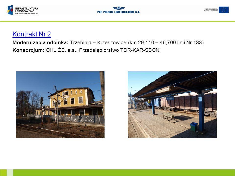 Kontrakt Nr 2Modernizacja odcinka: Trzebinia – Krzeszowice (km 29,110 – 46,700 linii Nr 133) Konsorcjum: OHL ŽS, a.s., Przedsiębiorstwo TOR-KAR-SSON.