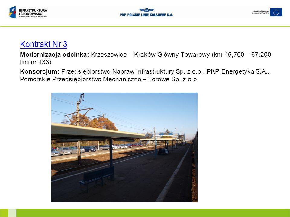 Kontrakt Nr 3Modernizacja odcinka: Krzeszowice – Kraków Główny Towarowy (km 46,700 – 67,200 linii nr 133)