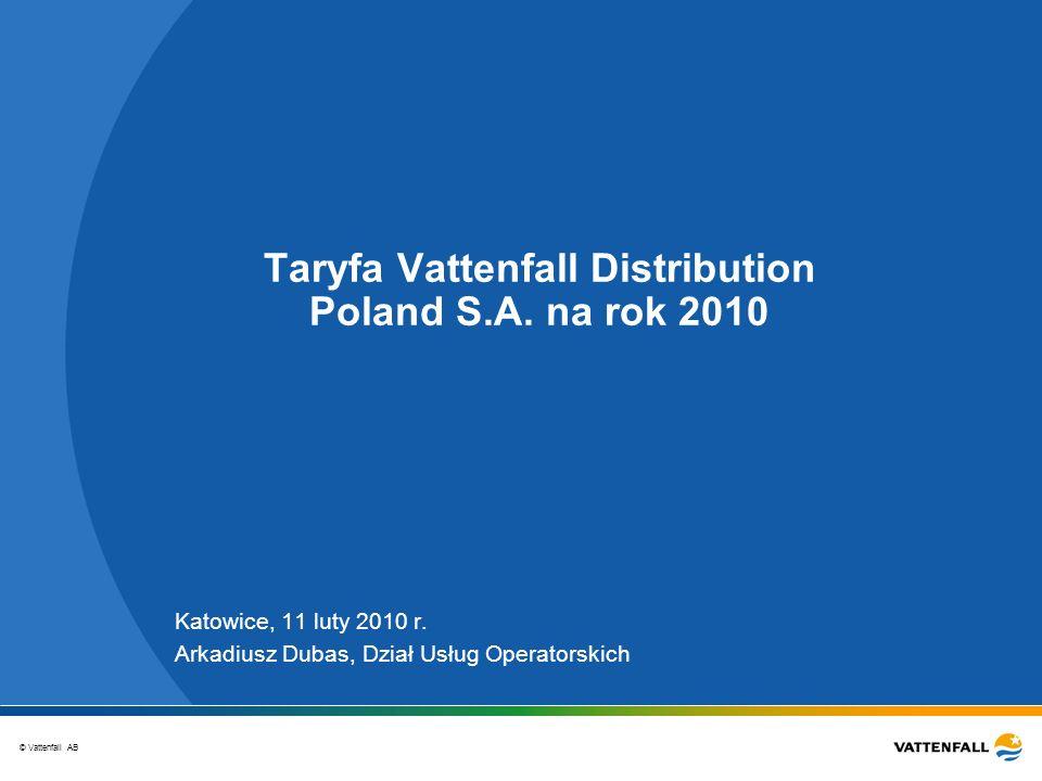 Taryfa Vattenfall Distribution Poland S.A. na rok 2010