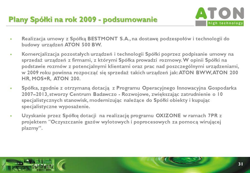 Plany Spółki na rok 2009 - podsumowanie