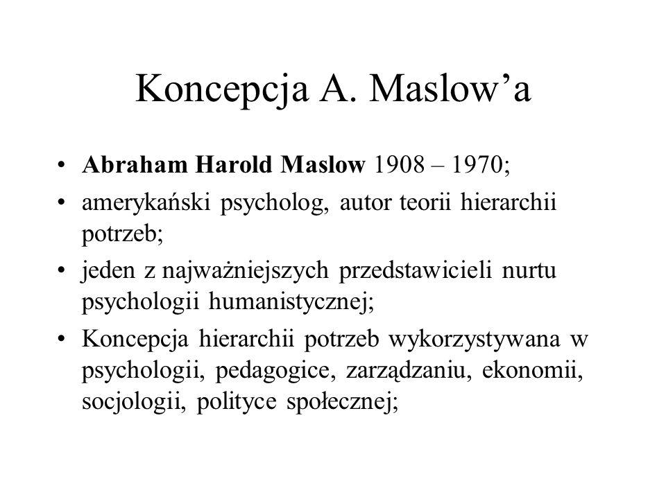 Koncepcja A. Maslow'a Abraham Harold Maslow 1908 – 1970;