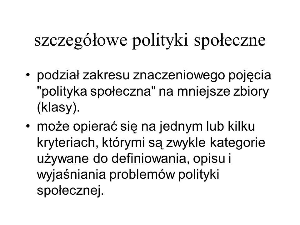 szczegółowe polityki społeczne