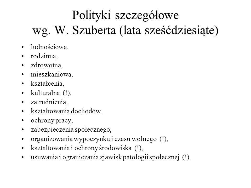 Polityki szczegółowe wg. W. Szuberta (lata sześćdziesiąte)