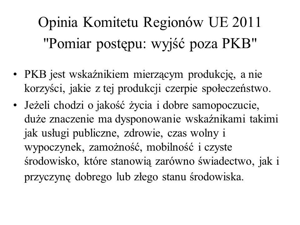 Opinia Komitetu Regionów UE 2011 Pomiar postępu: wyjść poza PKB