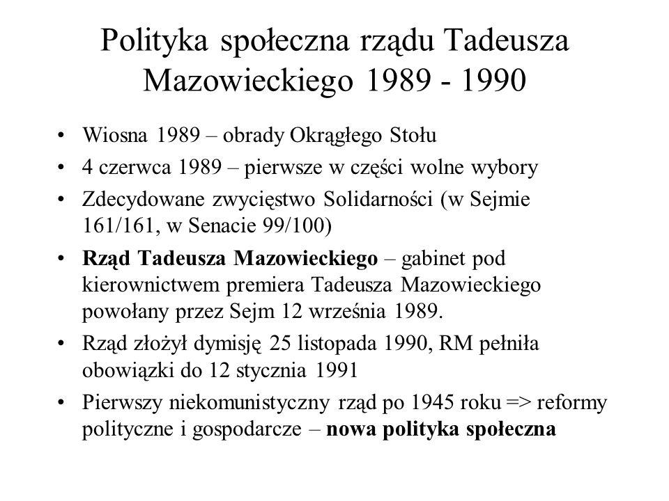 Polityka społeczna rządu Tadeusza Mazowieckiego 1989 - 1990