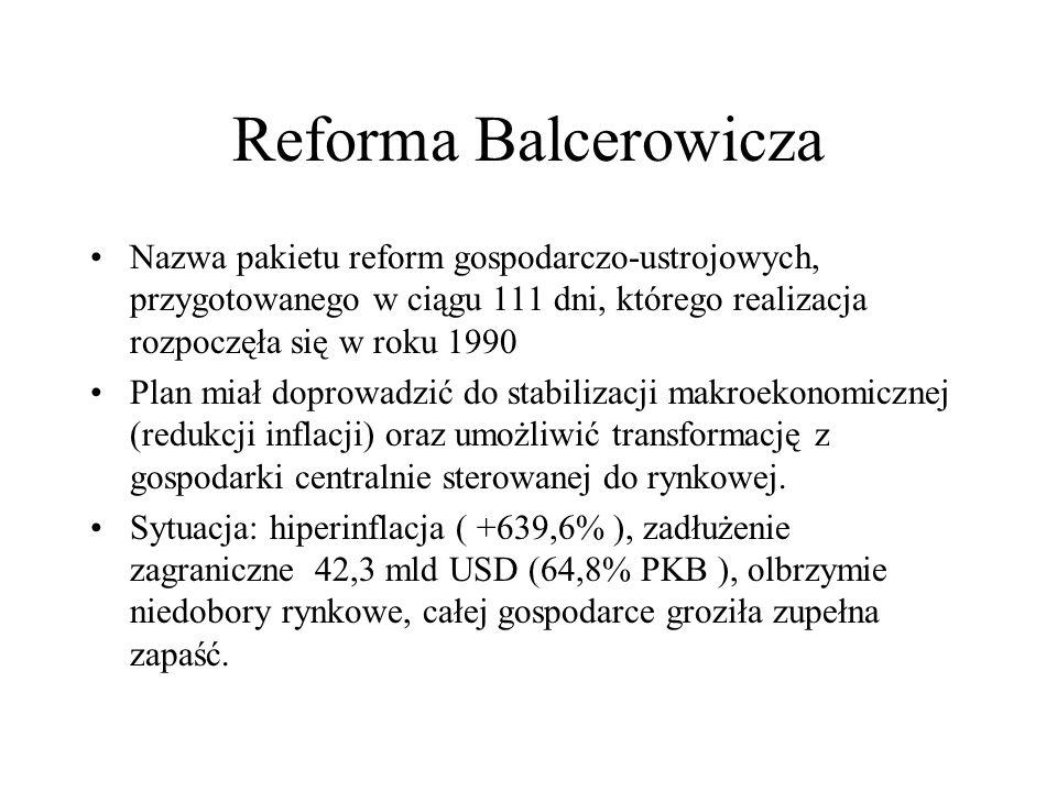 Reforma Balcerowicza Nazwa pakietu reform gospodarczo-ustrojowych, przygotowanego w ciągu 111 dni, którego realizacja rozpoczęła się w roku 1990.
