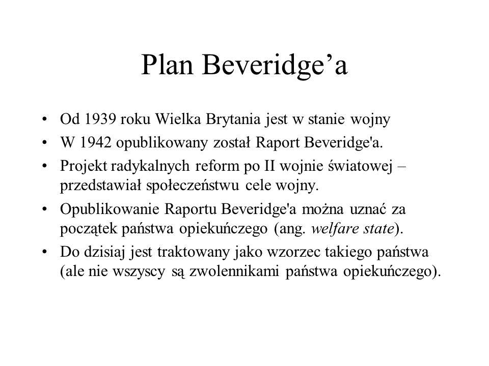 Plan Beveridge'a Od 1939 roku Wielka Brytania jest w stanie wojny