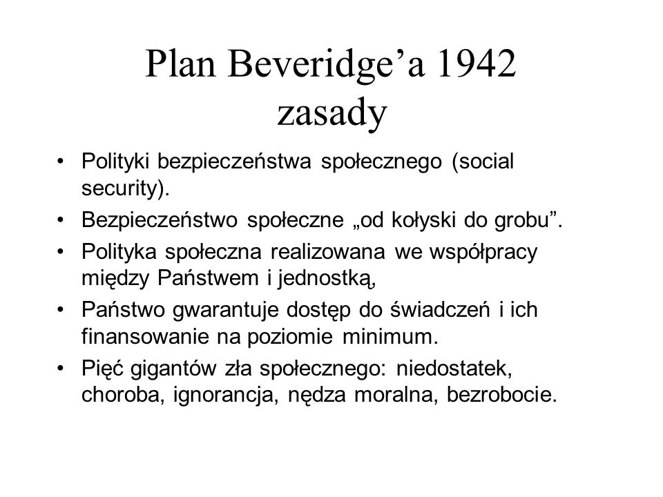 Plan Beveridge'a 1942 zasady