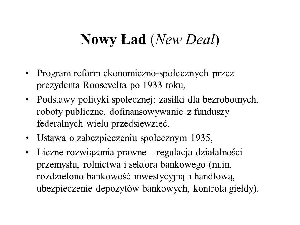 Nowy Ład (New Deal) Program reform ekonomiczno-społecznych przez prezydenta Roosevelta po 1933 roku,