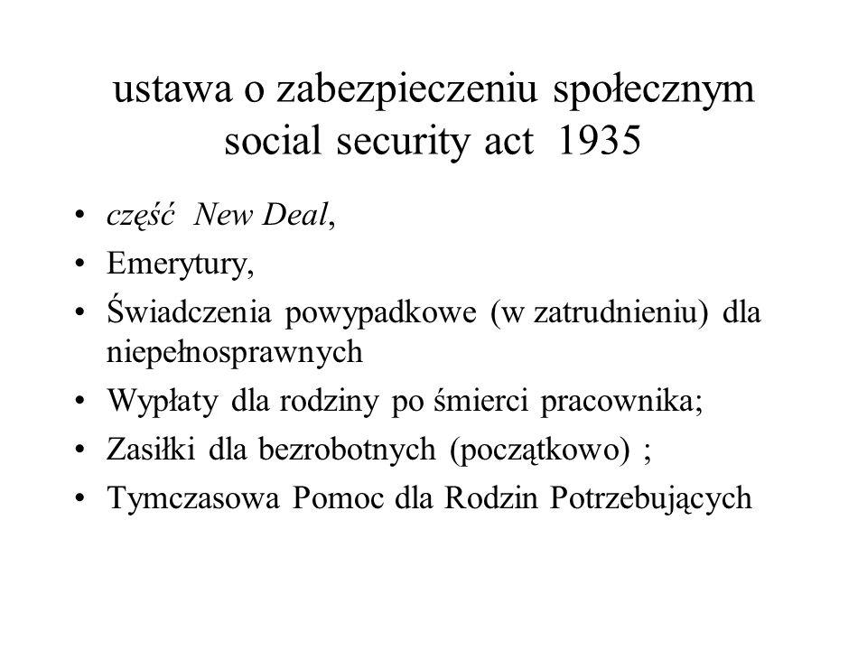 ustawa o zabezpieczeniu społecznym social security act 1935