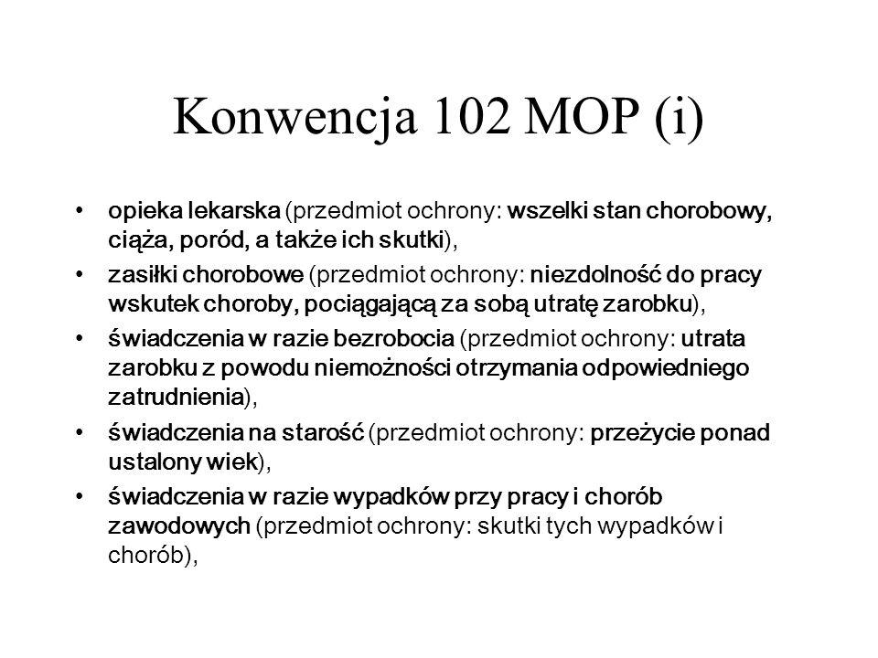 Konwencja 102 MOP (i)opieka lekarska (przedmiot ochrony: wszelki stan chorobowy, ciąża, poród, a także ich skutki),