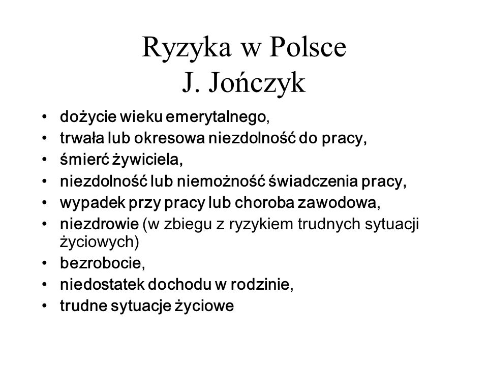 Ryzyka w Polsce J. Jończyk