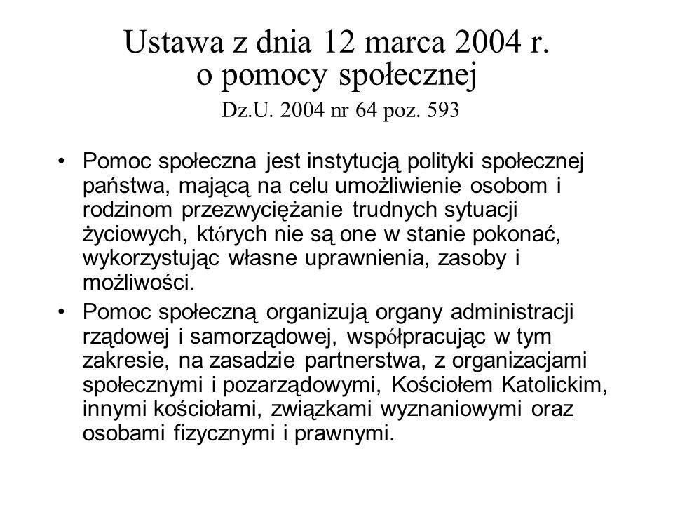 Ustawa z dnia 12 marca 2004 r. o pomocy społecznej Dz. U