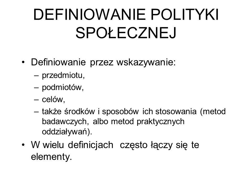 DEFINIOWANIE POLITYKI SPOŁECZNEJ