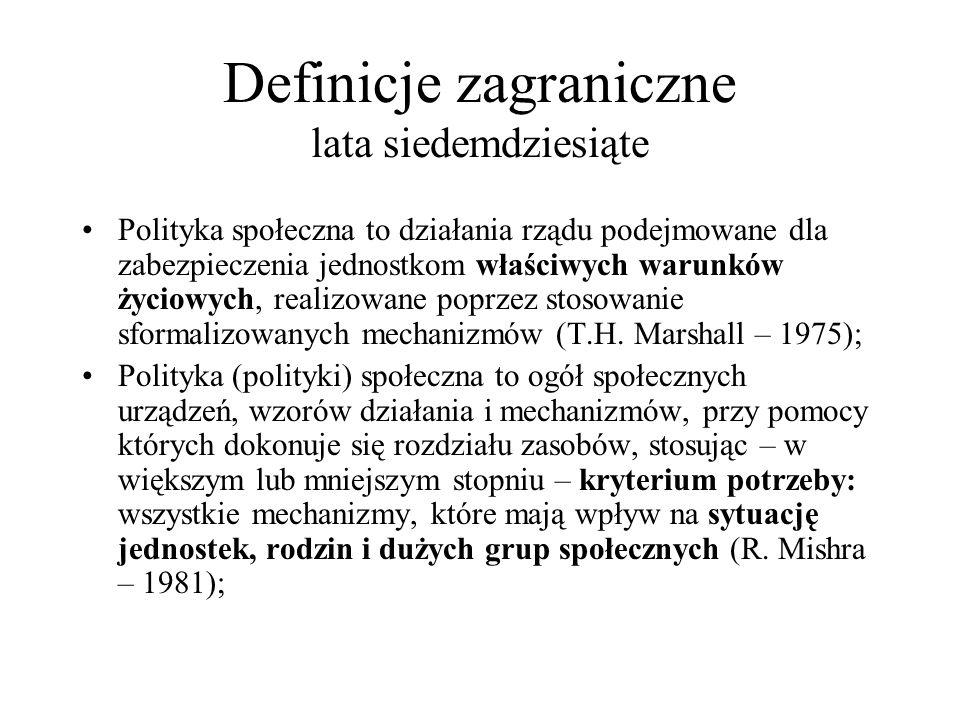 Definicje zagraniczne lata siedemdziesiąte