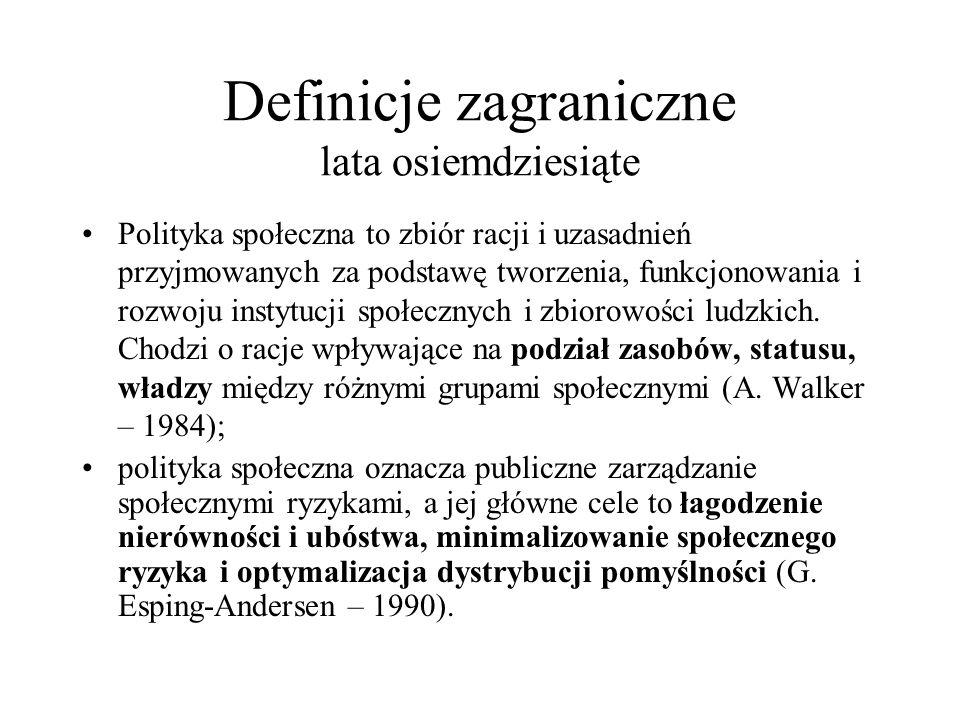 Definicje zagraniczne lata osiemdziesiąte
