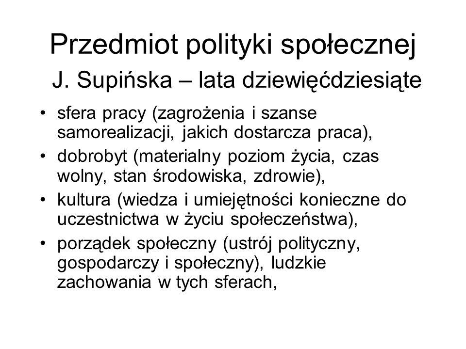 Przedmiot polityki społecznej J. Supińska – lata dziewięćdziesiąte