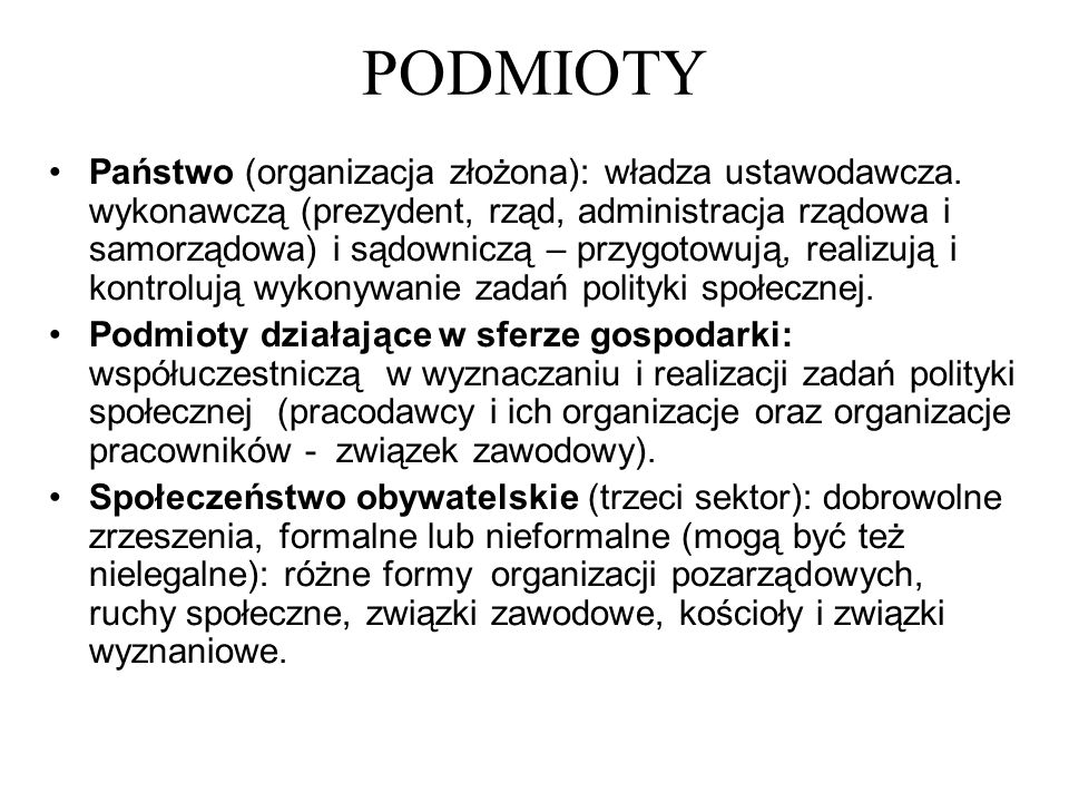 PODMIOTY