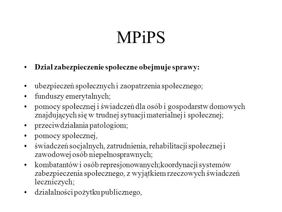 MPiPS Dział zabezpieczenie społeczne obejmuje sprawy: