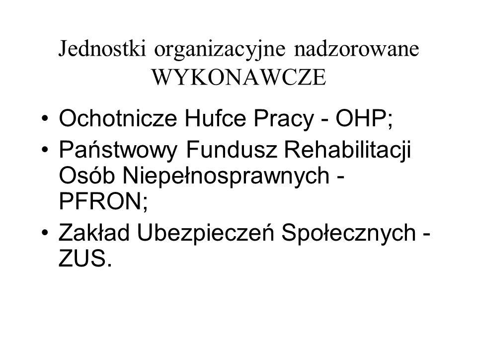 Jednostki organizacyjne nadzorowane WYKONAWCZE