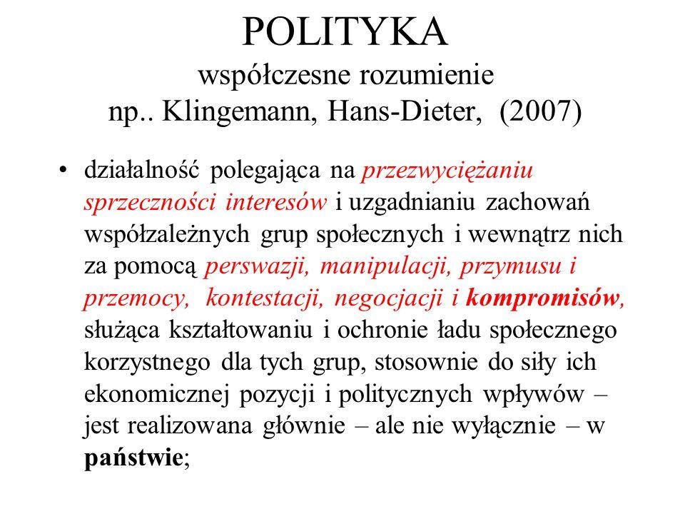 POLITYKA współczesne rozumienie np.. Klingemann, Hans-Dieter, (2007)