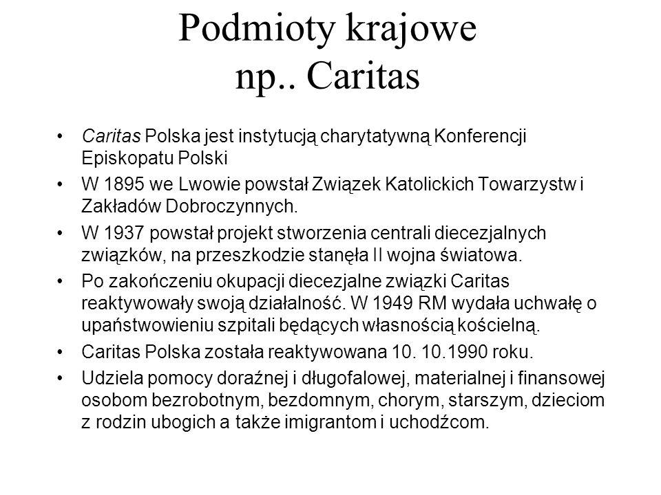 Podmioty krajowe np.. Caritas