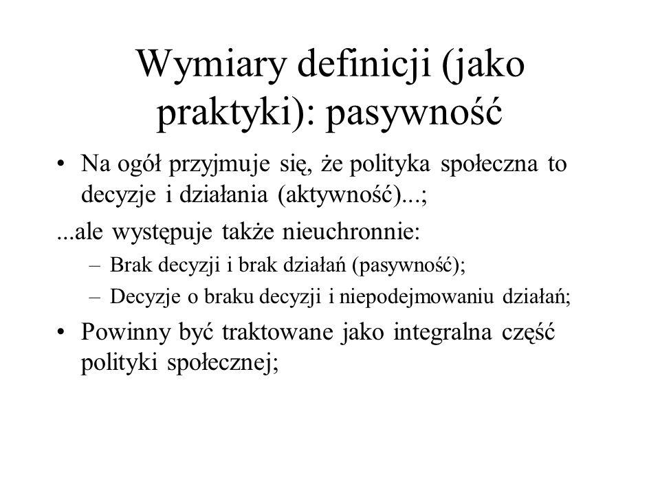 Wymiary definicji (jako praktyki): pasywność