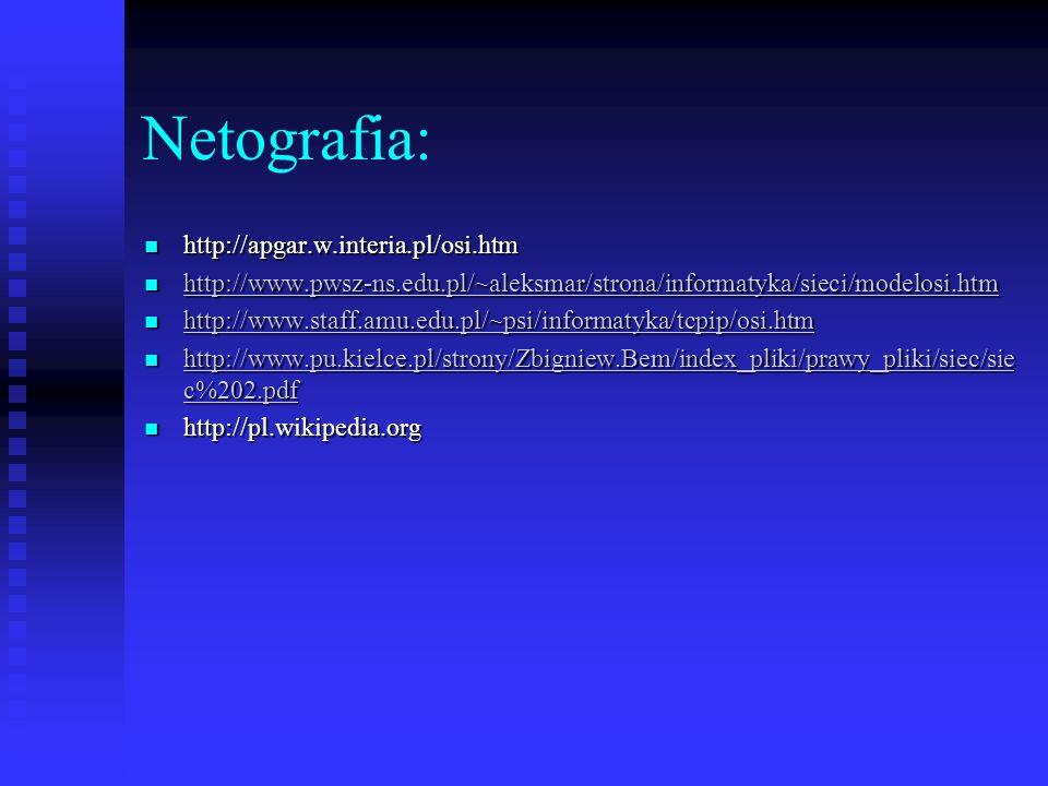 Netografia: http://apgar.w.interia.pl/osi.htm