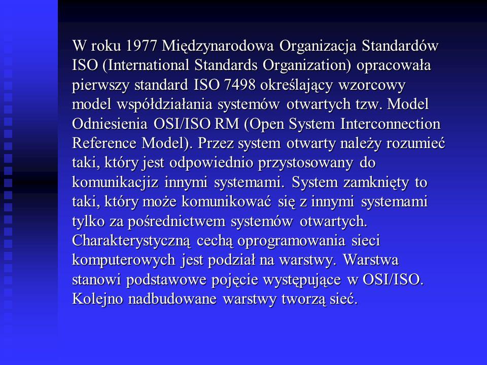 W roku 1977 Międzynarodowa Organizacja Standardów ISO (International Standards Organization) opracowała pierwszy standard ISO 7498 określający wzorcowy model współdziałania systemów otwartych tzw.