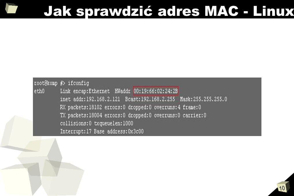 Jak sprawdzić adres MAC - Linux