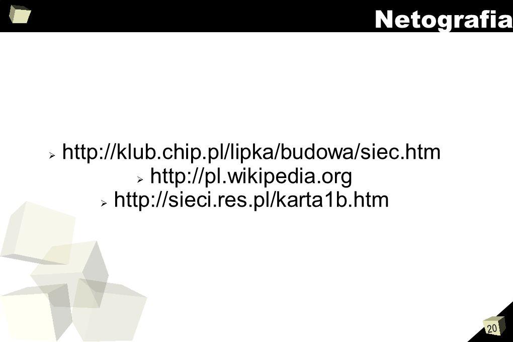 Netografia http://klub.chip.pl/lipka/budowa/siec.htm