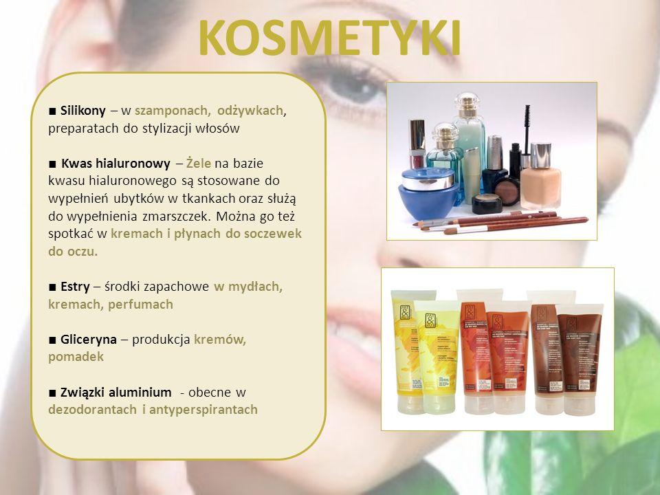 KOSMETYKI ■ Silikony – w szamponach, odżywkach, preparatach do stylizacji włosów.