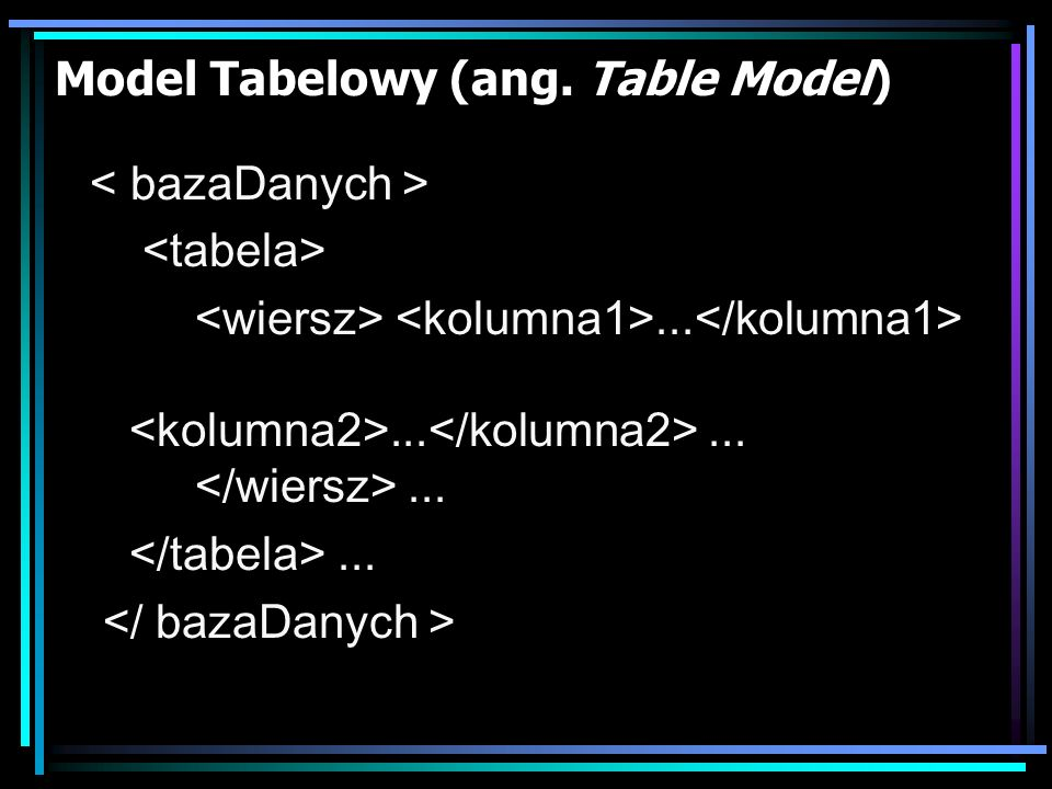 Model Tabelowy (ang. Table Model)